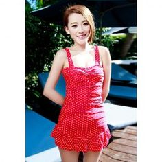 Slim Fit Cute Polka Dot Print One-Piece Swimsuit For Women