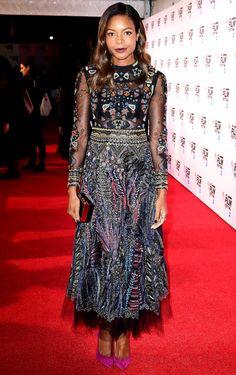 Naomie Harris in an embellished Valentino midi dress