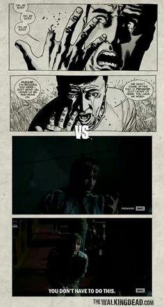 """Gareth's plea The Walking Dead 5x03 """"Four Walls and a Roof"""" Show VS Comics"""