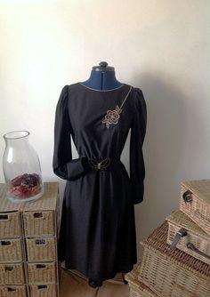 Gorgeous black retro dress with gold by Kittishiddentreasure, £12.00