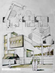 Contemporary House Architectural Drawing - Dragos Neatu | ARCH-student.com