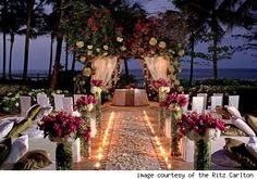 Outdoor Wedding Ceremony at The Ritz-Carlton, San Juan Wedding Locations, Wedding Themes, Wedding Decorations, Wedding Dresses, Perfect Wedding, Dream Wedding, Wedding Day, Wedding Bells, Luau Wedding