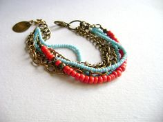 Red and turquoise wedding jewelry. Two bohemian stacking bracelets at your by DivinaLocura