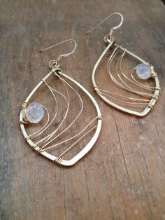 Brass Abstract Wire Wrapped Earrings w Moonstone