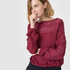 Blouse dentelle R Edition High Neck Blouse, Long Blouse, Sheer Blouse, Ruffle Blouse, Long Shorts, Shirt Blouses, Blouses For Women, Couture, Long Sleeve