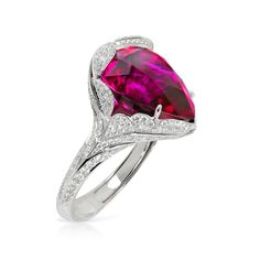 Kat Florence white gold ring featuring Brazilian Cruzeiro Rubellite ( and Diamonds ( Stone Jewelry, Jewelry Art, Jewelry Accessories, Jewelry Design, High Jewelry, Colored Engagement Rings, Antique Rings, White Gold Rings, Beautiful Rings