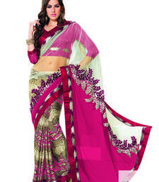 Buy Pink embroidered net saree with blouse party-wear-saree online