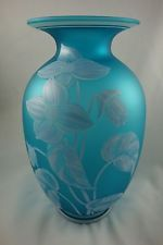1984 FENTON AZURE BLUE SATIN GLASS VASE CINCINNATI ART MUSEUM BUTTERFLY FLORAL