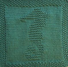 Free knitting pattern for seahorse dishcloth, washcloth, blanket or afghan square. Includes chart and written instructions. Knitted Dishcloth Patterns Free, Knitting Squares, Knitted Washcloths, Knit Dishcloth, Knitting Patterns Free, Free Knitting, Crochet Patterns, Knitting Basics, Knitting Projects