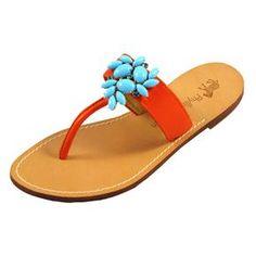 Phyllis Morgan, Isabel tomato sandal,  turquoise cabochons w/ Capri blue Swarovski crystals, thong, $255.00