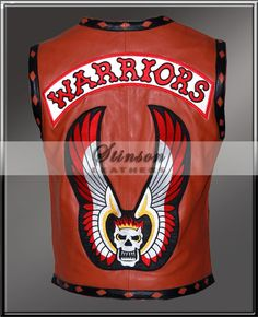 Stylish Brown Biker Leather Vest from The Warriors Movie with adorable skull flaming patch with wings. Best Leather Jackets, Men's Leather Jacket, Biker Leather, Brown Leather, Warrior Movie, Biker Vest, Vest Jacket, Bomber Jacket, Biker Style
