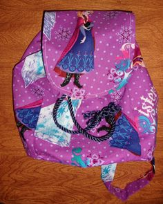 Custom Made Disney Frozen Backpack Drawstring Purse with Queen Elsa and Princess Anna (Anna is on the Flap)