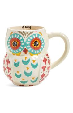 Natural Life 'Be Happy' Owl Mug available at Stars Disney, Happy Owl, Owl Mug, Owl Always Love You, Cute Mugs, Ceramic Cups, Natural Life, My Coffee, Coffee Mugs