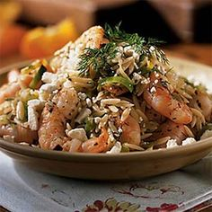 We used the longer grain orzo, a rice-shaped pasta, for a prettier presentation. Before using the leeks, be sure to rinse them thoroughly. Orzo Recipes, Risotto Recipes, Shrimp Recipes, Dinner Recipes, Healthy Recipes, Shrimp Orzo, How To Cook Orzo, Fresh Herbs