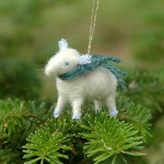 Lamb with a Blue Tweed Scarf- Needle Felted Christmas Ornament