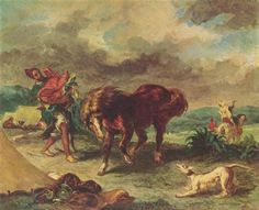 The Moroccan and his Horse - Eugene Delacroix - Completion Date:1857