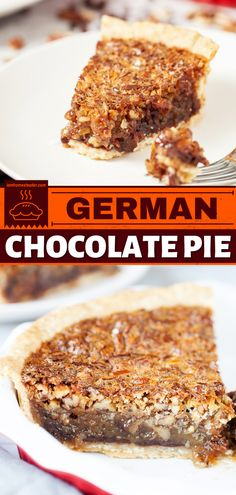 Impress your family with this decadent chocolate dessert. This easy-to-make german chocolate pie is made from layers of chocolate cake and thick, chewy, crunchy coconut and pecans! It's certainly a dessert to impress! German Chocolate Pies, Decadent Chocolate, Chocolate Desserts, Easy Desserts, Delicious Desserts, Chocolate Chips, Sweet Desserts, Chocolate Cake, Nut Recipes