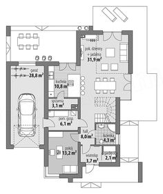 Projekt domu Arystoteles 144,5 m2 - koszt budowy - EXTRADOM Modern Bungalow House, Bungalow Exterior, Modern House Design, Villa Plan, Architectural House Plans, Facade House, Home Builders, Planer, Building A House