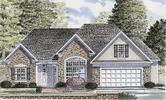 House Plan 94155   Ranch    Plan with 1802 Sq. Ft., 3 Bedrooms, 2 Bathrooms, 2 Car Garage