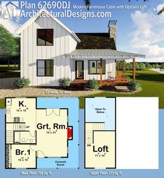Plan Modern Farmhouse Cabin with Upstairs Loft Architectural Designs House Plan gives you a main floor bedroom, a kitchen and vaulted great room, a kitchen, sleeping loft, wrap-around porch and just under square feet of heated living House Plan With Loft, Loft House, Tiny House Plans, Cabin Plans With Loft, Small House Plans Under 1000 Sq Ft, Tiny Home Floor Plans, Small Home Plans, 1 Bedroom House Plans, Architectural Design House Plans