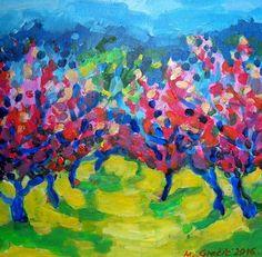 Maja Grecic - Paintings for Sale Peach Blossom Tree, Peach Blossoms, Blossom Trees, Hand Embroidery Designs, Acrylic Painting Canvas, Paintings For Sale, Impressionist, Cotton Canvas, Artwork