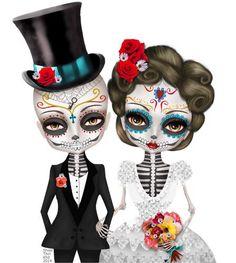 Custom illustration Sugar Skull Wedding Day of the by Shwe Thiri Khit Holly Hobbie, Compass Tattoo, Crane, Sugar Skull Wedding, Sugar Skull Artwork, Sugar Skull Girl, Sugar Skulls, Catrina Tattoo, Kobold