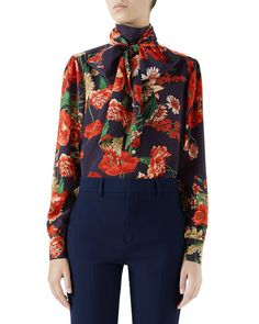 f2021c8f0f9 Gucci Spring Bouquet Silk Blouse w  Self Tie Bow and Matching Items