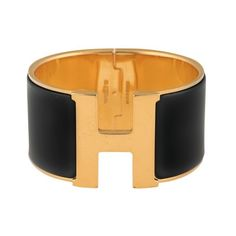 Pre-owned Hermes Black Enamel Gold Tone Clic Clac H Cuff ($595) ❤ liked on Polyvore featuring jewelry, bracelets, goldtone jewelry, hermès, cuff jewelry, hermes jewelry and hermes bangle