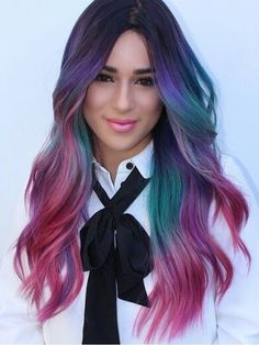 purple pink rainbow dyed hair