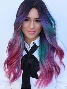 purple pink rainbow dyed hair
