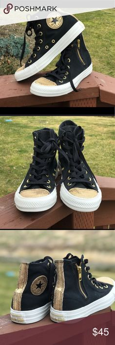 Black & Gold Converse Black & Gold Converse Chuck Taylors high top Gold shiny toe, zippered side and gold logo on the side.  ❗️Size 7 women's, size 5 men's!❗️ Seriously such good condition!  These are rad shoes!! Converse Shoes Sneakers