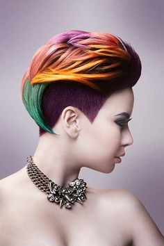 Short yellow rainbow haircut http://www.creativeboysclub.com/wall/creative