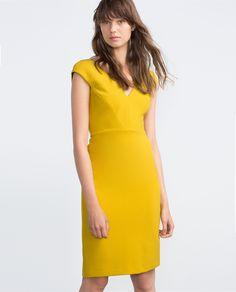 Zara basic yellow dress