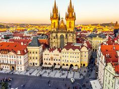Tyn Church is located in Prague's Old Town Square. Built by the Hussites in 1385, its gothic twin spires appear both awe-inspiring and menacing. It's today's Daily Escape.