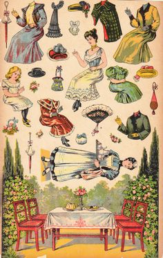 I find it interesting how the trappings of Victorian fashion are floating above ground in this paper doll set. Victorian Paper Dolls, Vintage Paper Dolls, Victorian Dollhouse, Modern Dollhouse, Paper Doll House, Paper Houses, Papel Vintage, Paper Art, Paper Crafts