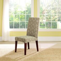 This is a pretty one too! Sure Fit Slipcovers Stretch Ironworks Short Dining Chair Covers - Dining Chair Cover Dining Room Chair Slipcovers, Dining Room Chair Covers, Dining Room Chairs, Dining Rooms, Parson Chair Covers, Folding Chair Covers, Dinner Room, Parsons Chairs, New Living Room