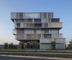 Image 8 of 15 from gallery of Aquitanis Headquarters / Platform Architectures. Photograph by Luc Boegly Architecture Design, Architecture Office, Facade Design, Building Architecture, Residential Architecture, Building Sketch, Building Design, Residential Complex, Social Housing