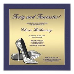 Blue Gold High Heels Womans 40th Birthday Party Personalized Announcement Invitation Wording