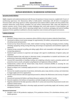 human resources warehouse supervisor resume sample - Warehouse Supervisor Sample Resume