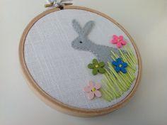 Pastel rabbit picture, textile wall art £12.00