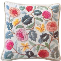 Vintage Crewel 1977 Columbia Minerva Pastel Colonial Pillow Kit for sale online Cushion Embroidery, Crewel Embroidery Kits, Embroidery Patterns Free, Hand Embroidery Designs, Vintage Embroidery, Floral Embroidery, Embroidery Thread, Cross Stitch, Couture