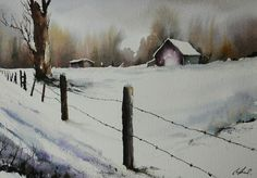 Watercolor Scenery, Watercolor Landscape, Landscape Art, Landscape Paintings, Watercolor Paintings, Snow Scenes, Winter Scenes, Paintings I Love, Beautiful Paintings