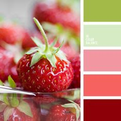"Wonderful ""tasty"" palette as juicy summer fruits and berries. Shades of green, pink and bright red - a lovely song, fresh and cheerful. Suitable for the creation of original, very female interior. The base color can choose pastel green or light green. Colour Pallette, Colour Schemes, Color Combos, Color Concept, Strawberry Color, Strawberry Fields, Pastel Palette, Interior Paint Colors, Interior Painting"