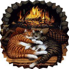 Kitty friends & a toasty fireplace