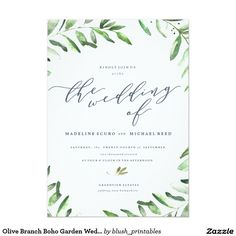 Olive Branch Boho Garden Wedding Invitation More