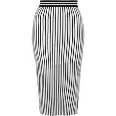 TopShop Airtex Stripe Tube Skirt ($30) ❤ liked on Polyvore featuring skirts, bottoms, topshop skirts, white striped skirt, midi skirt, white knee length skirt and straight skirt