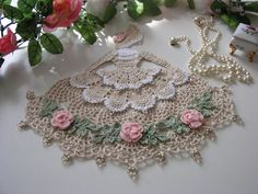 Crinoline Lady, Antique Colors, Crochet Doily with Glass Beads