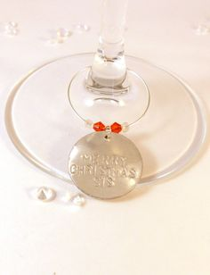 Merry Christmas Sis Wine Glass Charm Sister Gift Handmade UK by sljewellerydesign on Etsy