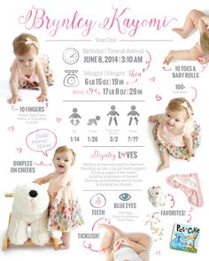 LARGE // First Birthday Infographic // by aJillianthingsShop
