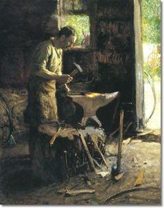 Edward Henry Potthast - Blacksmith - Approximate Original Size - 16x20 Painting